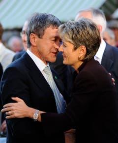 Zwei, die sich verstanden: Willi Haag und Karin Keller-Sutter, beide Mitglieder der FDP. (Bild: Urs Bucher)