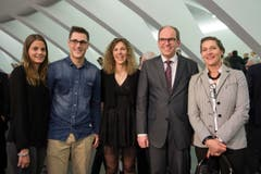 Der frisch gebackene Regierungsrat Bruno Damann mit seiner Familie. (Bild: Urs Bucher)