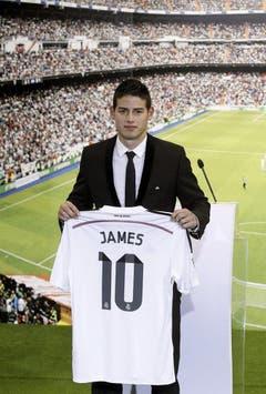 Platz 10: James Rodriguez. 2014 für 75 Millionen Euro von AS Monaco zu Real Madrid. (Bild: Daniel Ochoa de Olza / AP)