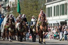 Die Zünfter ziehen mit Pferden durch die Stadt. (Bild: Urs Jaudas)