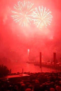 Das Feuerwerk über dem Kreuzlinger Hafenbecken fand trotz starkem Regen statt. (Bild: Benjamin Manser)