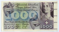 Ein Frauenkopf ist auch auf der 1000er-Note zu sehen. (Bild: Archiv der SNB)