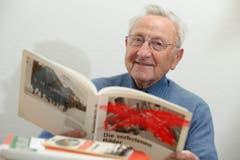"""Kategorie Originale: Eugen Alder ist ein wandelndes Geschichtsbuch. Der 91-Jährige aus Märstetten hat sein Wissen seit 1969 in der Zeitschrift """"Hilarius"""" festgehalten. (Bild: Donato Caspari)"""