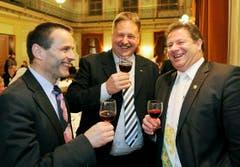 Urs Schneider, Carlo Parolari und Grossratspräsident Walter Hugentobler am Konstabler-Anlass an der Bechtelisnacht in Frauenfeld. (Bild: Reto Martin)
