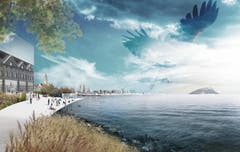 Die Küste von Romanshorn bis Altenrhein sowie deren Stege sind Spielorte der geplanten Expo-Seelandschaft. (Bild: pd)