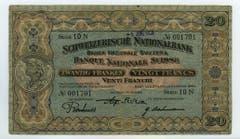 Die 20er-Note zeigt das Vreneli. (Bild: Archiv der SNB)