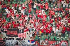 Moskau-Fans in der AFG Arena St.Gallen - ein seltenes Bild. (Bild: Michel Canonica)