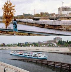 Die Bildkombo zeigt die Mauer in Berlin am Ufer der Spree (Foto von 1980, oben) und die Spree mit Schiffsverkehr ohne die Mauer (Foto vom 04.08.11, unten). (Bild: Keystone)