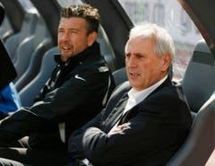 Eine Zeitlang assistierte Urs Fischer beim FC Zürich Trainer Bernard Challandes - später übernahm er den Chefposten. (Bild: Keystone)