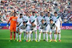 Das Team des FC St.Gallen vor dem Spiel gegen Moskau. (Bild: Urs Bucher)