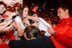 Auch das Interesse an Goalie Diego Benaglio war gross. (Bild: Keystone)