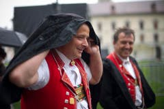 Regenwetter zum Auftakt des Gallus-Jubiläums in St.Gallen. (Bild: Benjamin Manser)