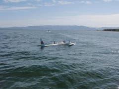 Dem Piloten gelang die Notwasserung auf dem Bodensee. (Bild: Seerettungsdienst Rorschach)