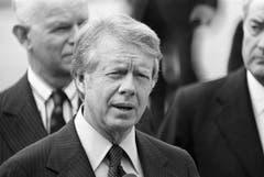 Der Demokrat Jimmy Carter (Jg.1924) und sein Vice Walter Mondale regierten nur von 1977 bis 1981 im Weissen Haus. Seine oft widersprüchliche Aussenpolitik fällt in eine Zeit ohne offene kriegerische Auseinandersetzung. (Bild: Keystone)
