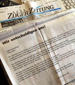 Die Verantwortlichen des SC Bern entschuldigten sich in der Folge per Inserat für den Skandal. (Bild: Keystone)