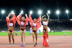 Die Schweizer Staffel-Sprinterinnen: Mujinga Kambundji, Lea Sprunger, Marisa Lavanchy und Sarah Atcho (v.l.n.r.) (Bild: Keystone)