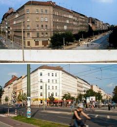 Die Bildkombo zeigt die Mauer an der Bernauer Strasse (oberes Bild, linke Seite) und der Oderberger Strasse (oberes Bild, rechte Seite) in Berlin (Foto vom Juli 1981, oben) und dieselbe Strassenecke 30 Jahre später ohne die Mauer (Foto vom 03.08.11, unten). (Bild: Keystone)