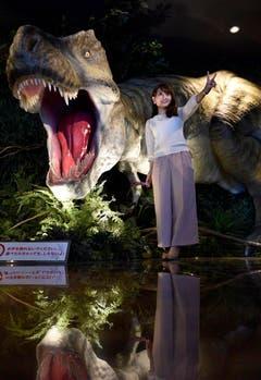 Die Lobby wird durch den lebensgrossen T-Rex zum Fotoobjekt. (Bild: FRANCK ROBICHON (EPA))