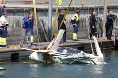 Die Maschine wurde vom Seerettungsdienst in Zusammenarbeit mit dem Schifffahrtsamt geborgen. (Bild: Rudolf Hirtl)