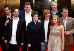 """Rickman mit einigen Schauspielkollegen von """"Harry Potter"""", darunter Daniel Radcliffe, Rupert Grint und Emma Watson. (Bild: Keystone)"""