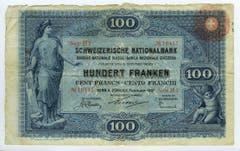 ...und zusätzlich mit einem Überdruck in Form einer roten Rosette mit Schweizer Kreuz zu versehen. (Bild: Archiv der SNB)