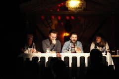 Die Jury (v.l.): FCSG-Urgestein Werner Zünd, Andreas Forster von Radio FM1, Maurizio Dottore von Sony Music und Krokus-Rocker Chris von Rohr. (Bild: Hanspeter Schiess)