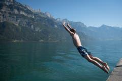 Mutiger Sprung in den Walensee bei Murg. (Bild: GIAN EHRENZELLER (KEYSTONE))