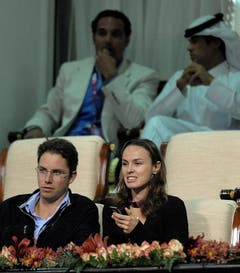 Da waren sie noch glücklich: Martina Hingis und ihr Mann Thibault Hutin beim Besuch eines Tennisturniers Anfang 2012. (Bild: Keystone)