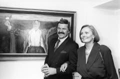 Ruth-Maria Kubitschek mit dem Schweizer Bauunternehmer, Bobfahrer und Schauspieler Hausi Leutenegger. (Bild: Keystone)