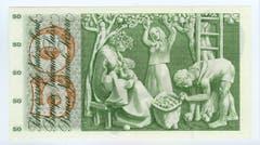 Das Porträt der Vorderseite hängt mit dem Sujet der Rückseite zusammen, hier ein Mädchenkopf und Frauen bei der Apfelernte. (Bild: Archiv der SNB)