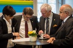 Die SVP am runden Tisch: Monika Knill, Jakob Stark, Max Arnold und Ruedi Zbinden. (Bild: Reto Martin)