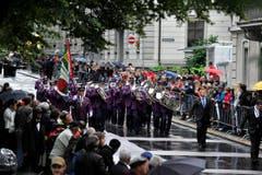 Die Musik aus Eich auf der Parademusikstrecke Hans Huber. (Bild: Keystone)
