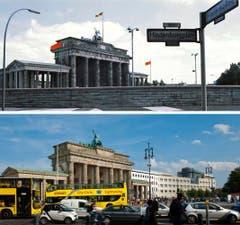 Die Bildkombo zeigt das Brandenburger Tor in Berlin hinter der Mauer (Foto von 1970, oben) und das Brandenburger Tor in Berlin mit Strassenverkehr (Foto vom 03.08.11, unten). (Bild: Keystone)