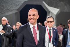 Bundesrat Alain Berset an der Tunneleröffnung. (Bild: Keystone)