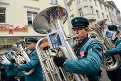 Die Brassband Frohsinn Lauperdorf. (Bild: Ralph Ribi)