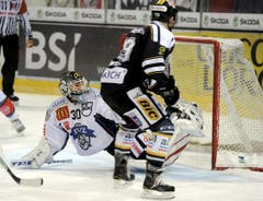 Oliver Kamber erzielt das 1:0 gegen EVZ-Goalie Jussi Markkanen. (Bild: Keystone)