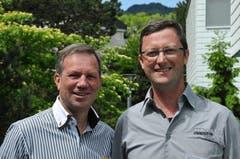 Der Hergiswiler Gemeindepräsident Remo Zberg (links) und OK-Präsident Peter Keller (Bild: Robert Hess / Neue OZ)