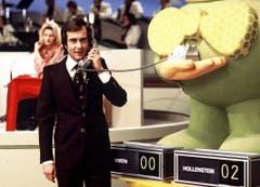 Kurt Felix im Jahre 1975 als Moderator von «Teleboy». (Bild: SRF)