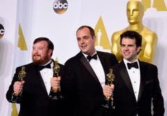 Oscar für die beste Tonmischung: «Whiplash». Bild v.l.: Thomas Curley, Ben Wilkins und Craig Mann. (Bild: Keystone / Paul Buck)