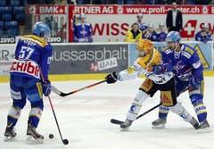 EV Zug Stürmer Reto Suri, gelber Helm, gegen Kloten Flyers Verteidiger Lukas Stoop, links, und Romano Lemm, rechts. (Bild: Keystone)