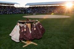 Die Schwingerhosen sind bereit am Eidgenoessischen Schwing- und Aelplerfest (ESAF) Estavayer 2016 in Payerne. (Bild: JEAN-CHRISTOPHE BOTT)