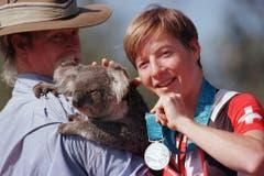 Barbara Blatter, Silber im Mountainbike, 2000 in Sydney. (Bild: Keystone / Fabrice Coffrini)