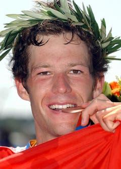 Sven Riederer, Bronze im Triathlon, 2004 in Athen. (Bild: Keystone / Eddy Risch)