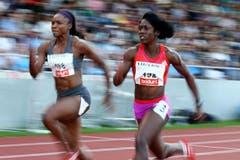 Aleen Bailey (links) und Samantha Henry-Robinson beim 100m Lauf der Frauen. (Bild: Philipp Schmidli/Neue LZ)
