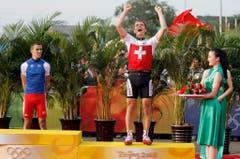 Nino Schurter, Bronze im Mountainbike, 2008 in Peking (Bild: Keystone / Peter Klaunzer)