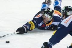 Josh Holden am Boden – aber nicht am Ende: Er streckt sich nach dem Puck. (Bild: Keystone / Urs Flüeler)