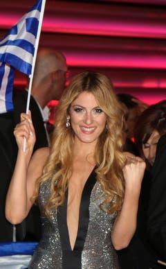 Griechenland: Maria Elena Kyriakou lächelt am Ende des ersten Halbfinals. (Bild: Ronald Zak)