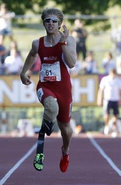 Christoph Bausch beim 100 m Rennen. (Bild: Keystone)