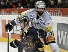 Zugs Andy Woznievski (rechts) gegen Berns Tristan Scherwey. (Bild: Keystone)