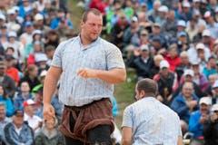 Sven Schurtenberger, der spätere Sieger, nach dem 4. Gang. (Bild: Urs Flüeler, Keystone / Rigi Staffel, 09.07.2017)